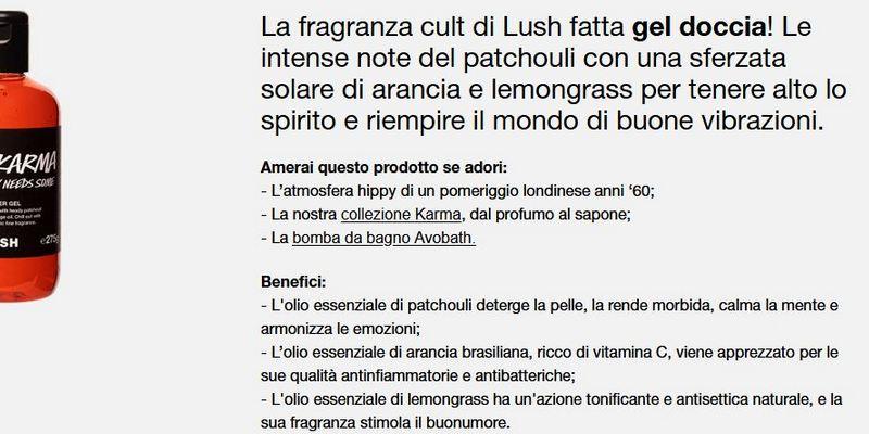 descrizione prodotto di Lush