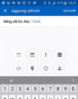 schermata per aggiungere attività alla to-do list